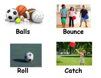 Creative Curriculum Ball Study Vocabulary words with real pictures