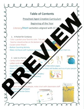 Creative Curriculum - Beginning of the Year