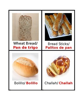 Creative Curriculum Bread Study Word Wall Cards