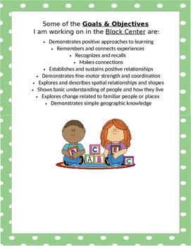 Creative Curriculum Interest Center Goals