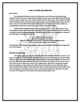 """Creative Curriculum Interest Centers """"Letters to Families"""""""
