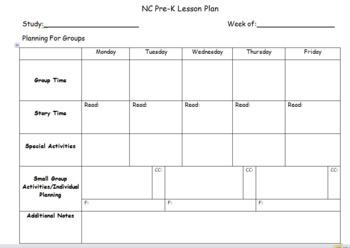 Creative Curriculum Lesson Plan Template Teachers Pay Teachers