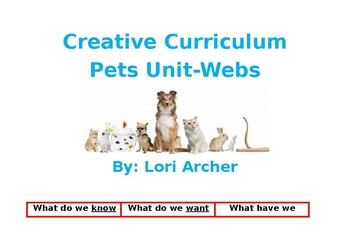 Creative Curriculum Pet Unit-KWL & Webs