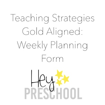 Creative Curriculum Weekly Planning Form by For Little ...