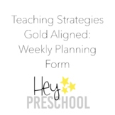 Creative Curriculum Weekly Planning Form