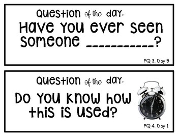"Creative Curriculum ""Question of the day"" BEGINNING THE YEAR"