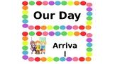 Creative Curriculum Schedule editable--rainbow polka dot border