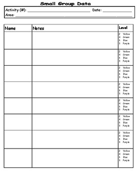 Creative Curriculum Small Group Data Collection Form