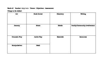 Creative Curriculum lesson template