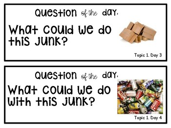 """Creative Curriculum """"question of the day"""" for REDUCE, REUSE, RECYCLE"""