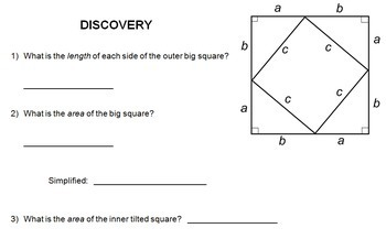 Creative Discovery Of Pythagorean Theorem Interactive Worksheet   With Key