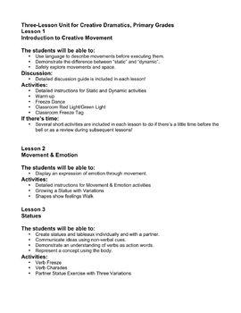 Creative Drama- Creative Movement Unit- Primary