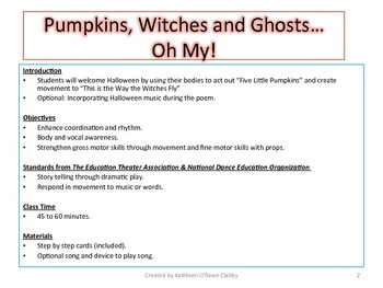 A Creative Drama & Movement Lesson Plan Halloween:Pumpkins,Witches &Ghosts,Oh My