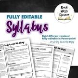 EDITABLE Syllabus Template | Creative Visual Syllabus | Different Options