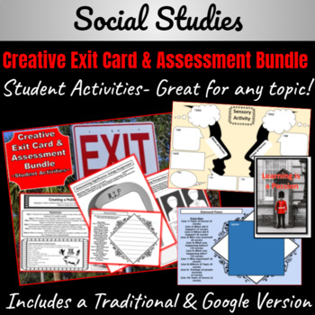 Creative Exit Card/Assessment Worksheets & Activities ~Good for any topic~
