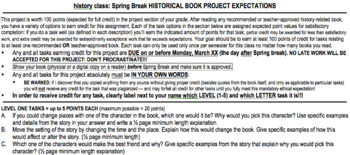 Creative Historical Book Project detailed Expectations with multifarious options