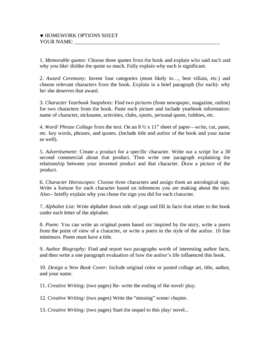 Creative Homework Ideas for High School Literature Classes