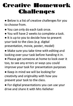 Creative Homework Tasks
