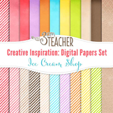 Creative Inspiration Digital Papers Set: Ice Cream Shop