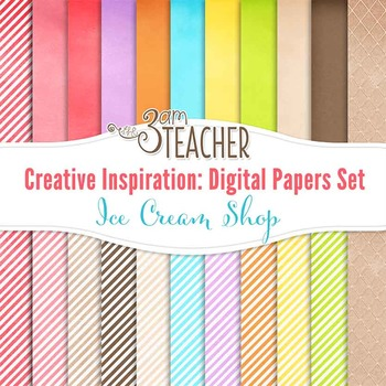 Creative Inspiration Digital Papers Set: Ice Cream Shop
