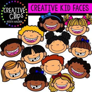Creative Kid Faces {Creative Clips Digital Clipart}