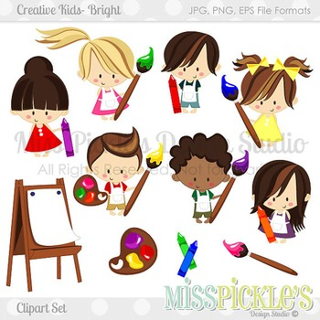 Creative Kids Bright- Commercial Use Clipart Set