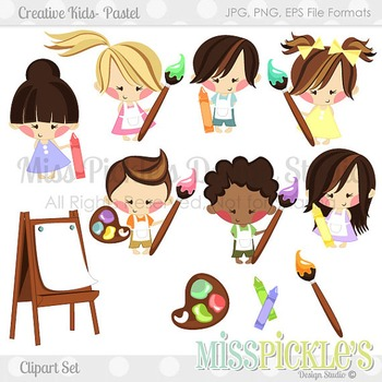 Creative Kids Clipart Set- Pastel