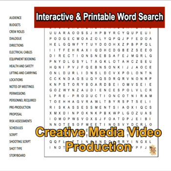 Creative Media Production Level 2 Unit 4 LO1 Interactive Word Search