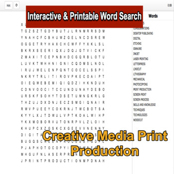 Creative Media Production Level 2 Unit 6 LO1 Interactive Word Search
