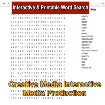 Creative Media Production Level 2 Unit 7 LO1 Interactive Word Search