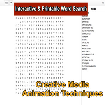 Creative Media Production Level 2 Unit 9 LO1 Interactive Word Search