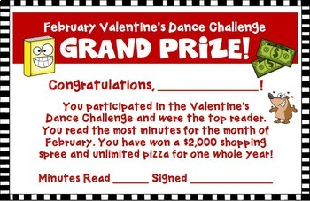 February Reading Log Valentine's Day Dance Theme