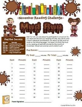November Reading Log Mud Run Theme