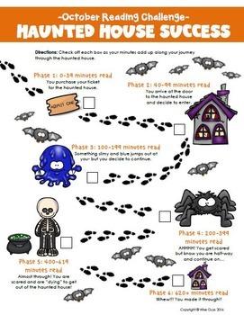 October Reading Log Haunted House Theme