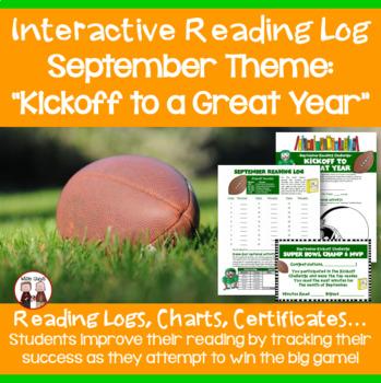 September Reading Log Kickoff to a Great Year Football Theme