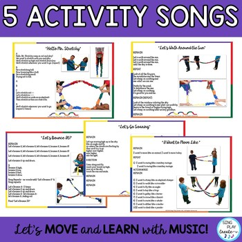 Creative Movement Stretchy Band Activities-Music, PE, Movement & Games