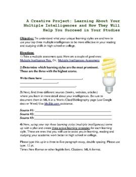 Creative Multiple Intelligences Project