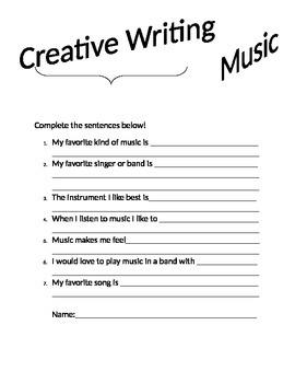 Creative Music Writing Worksheet