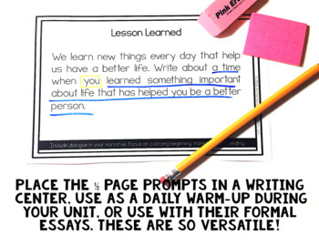Writing Personal Narrative Writing Prompts for Grades 3, 4, 5 with Brainstorming