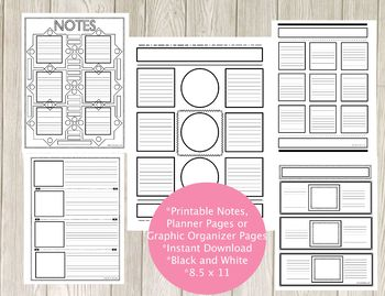 Creative Notes Pack 1 - Graphic Organizers, Notetaking, Planners and More