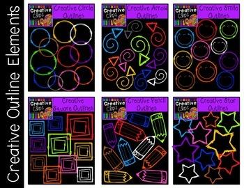 Creative Outline Elements {Creative Clips Digital Clipart}