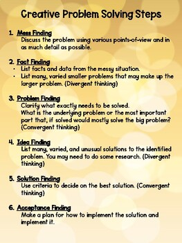 Creative Problem Solving Steps Poster