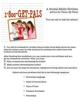 Social Skills Visual Project: 1-800-GET-PALS Hotline!