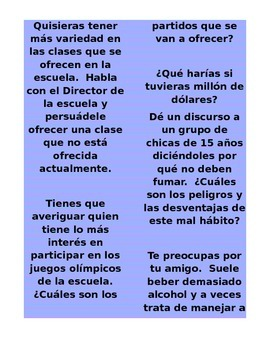 Creative Spanish Oral Scenarios