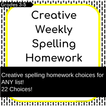 Creative Spelling Homework Choices