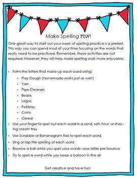 Creative Spelling Practice Homework