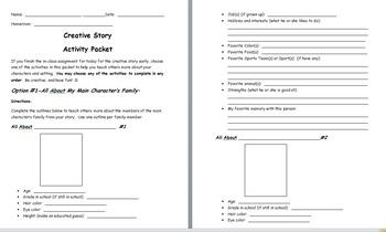 Creative Story Activity Packet