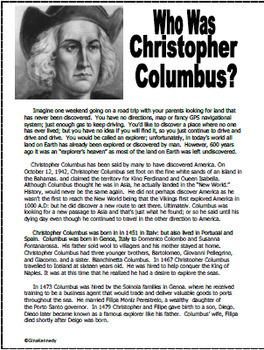 Christopher Columbus Unit, Plus Enrichment Project Menu