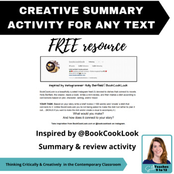Creative Summary Activity Inspired by @BookCookLook - ELA - FREEBIE