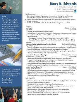 Creative Teacher Resume - Math Classic Template